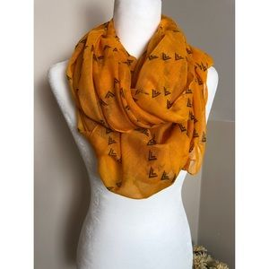 Accessories - 3/$18🔥Orange Print Poly Sheer Infinity Scarf